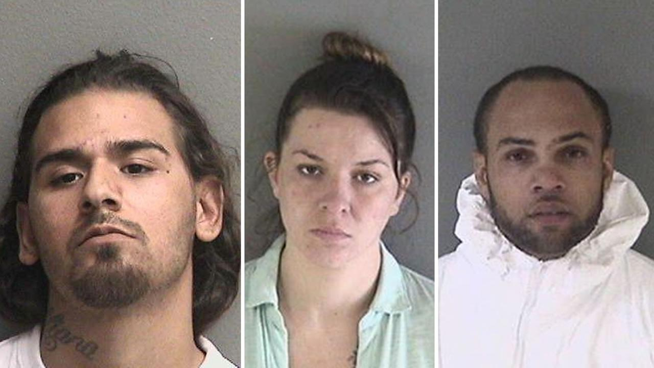 From left to right: Pablo Mendoza, Valerie Boden, and Brandon Follings. These three have been charged with the murder of a man in Hayward, Calif. on July 19, 2017.