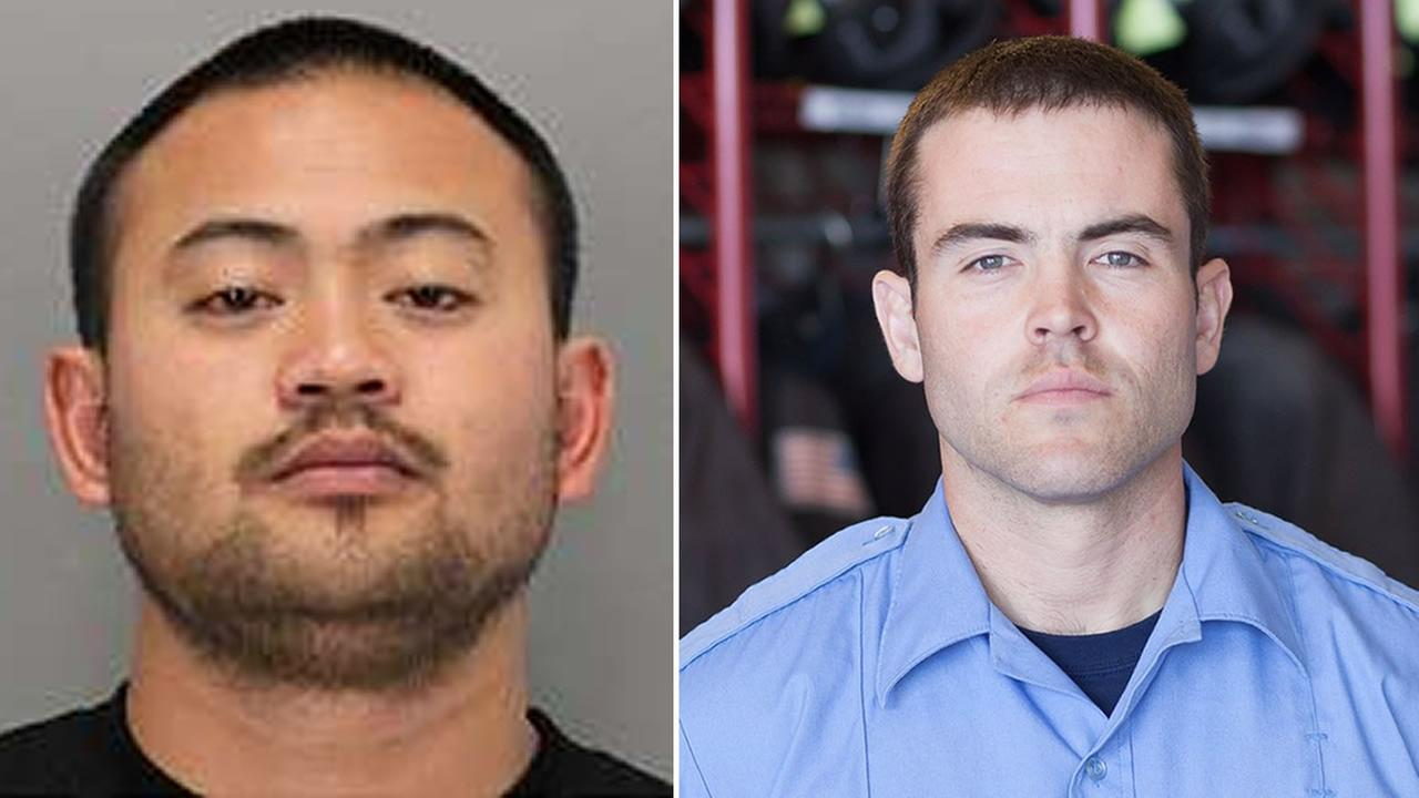 Oliver Juinio, left, is accused in the shooting death of firefighter Jake Walter, right, in San Jose, Calif. on Thursday, Aug. 18, 2017.