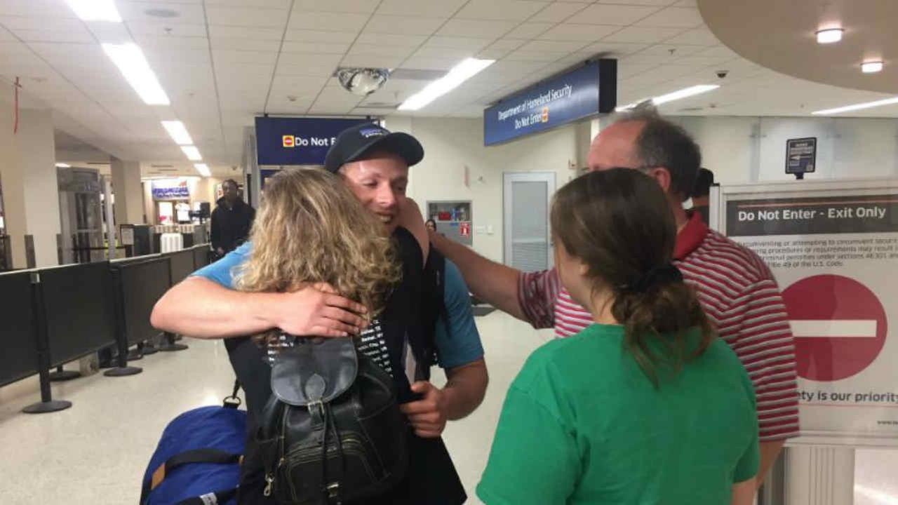 A family is seen being reunited in Oakland, Calif. on Sunday, August 20, 2017 after one member was in Barcelona during a terrorist attack.