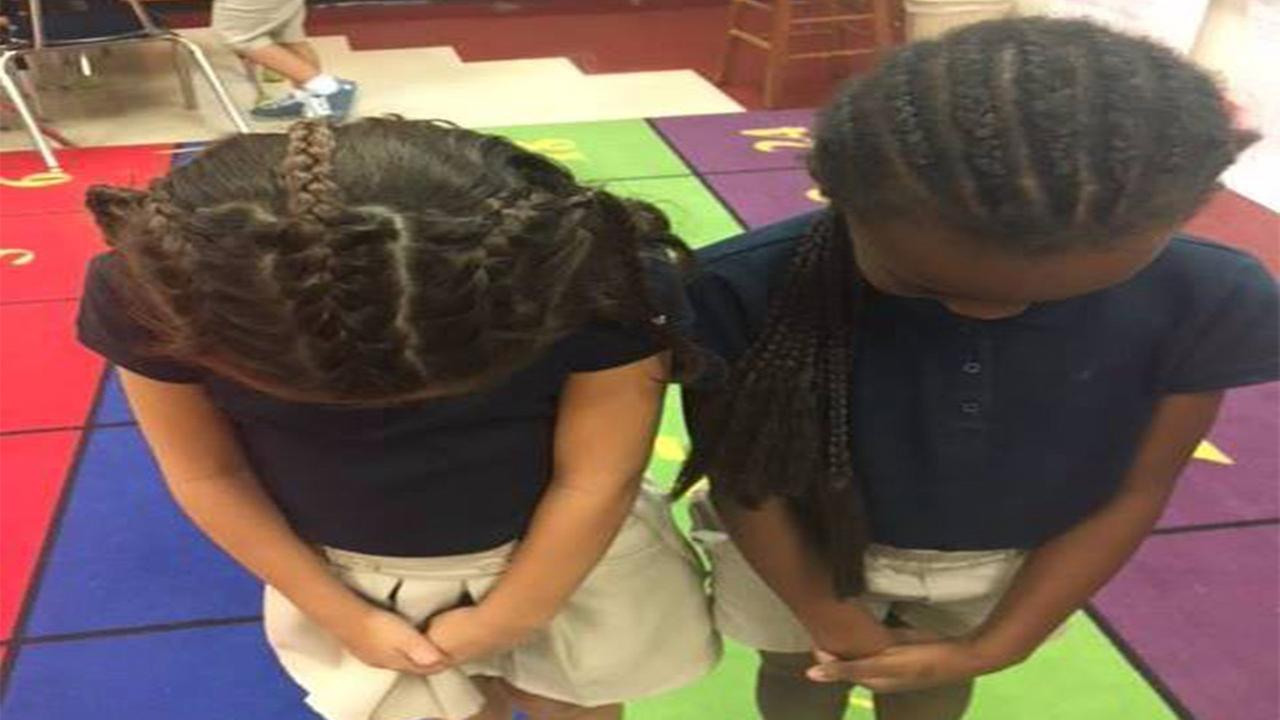 Young girl asks her mom to braid her hair so she can be twins with her best friend