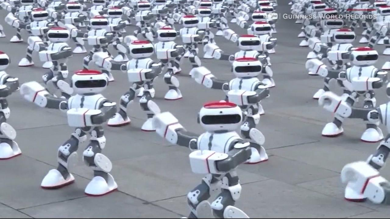 Thousands of dancing robots set a world record in China in this undated image.