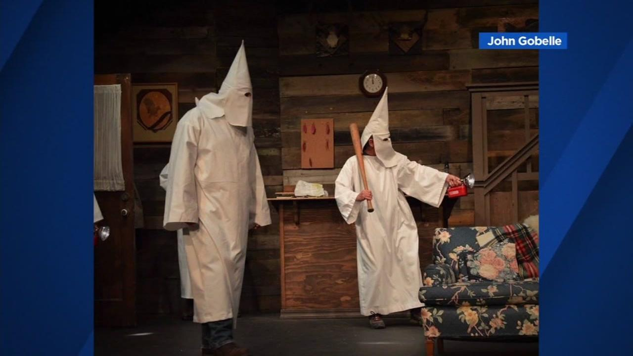 Actors appear in KKK robes in rehearsal for The Foreigner in Rohnert Park, Calif.