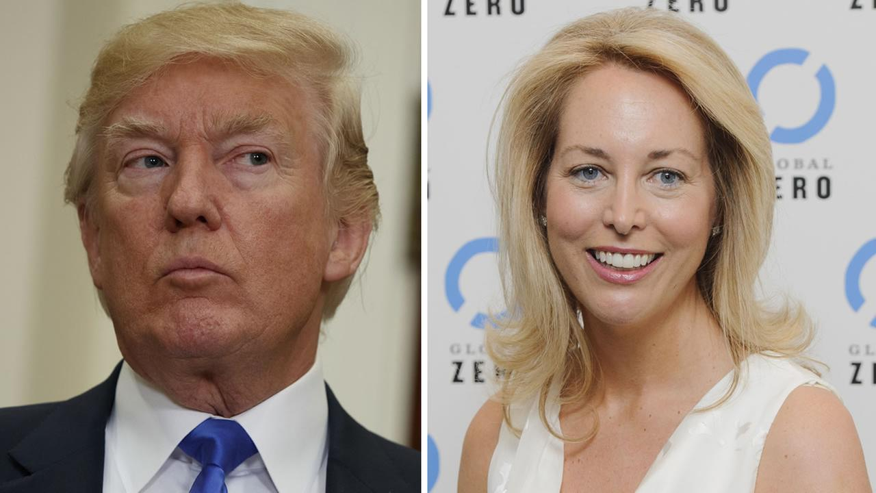 Pres. Donald Trump, left, is seen in Washington on Aug. 2, 2017. Valerie Plame Wilson, right, is seen in London on June 21, 2011.