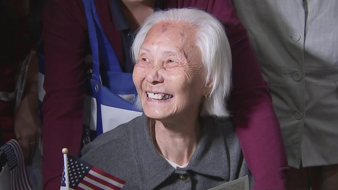 Hong Inh, who became a U.S. citizen at 103-years-old in Los Angeles, California, August 23, 2017.