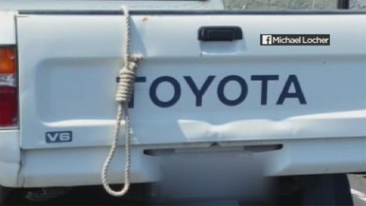 Undated photo shows noose hanging from car in San Leandro, California.
