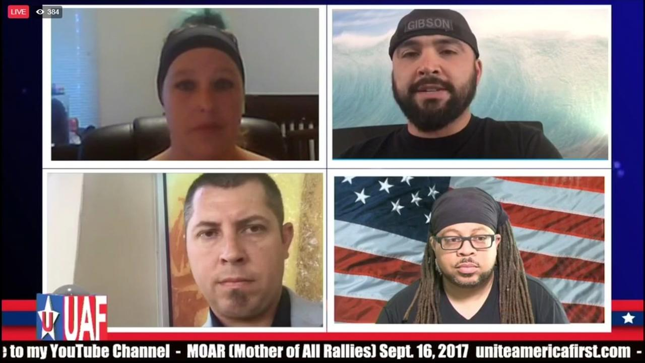 Patriot Prayer leaders discuss a rally in San Francisco on Facebook on Friday, Aug. 25, 2017.