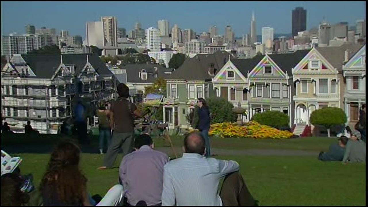 This is an undated image of Alamo Square Park.
