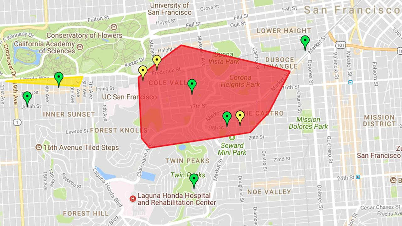 This image shows a map of power outages in San Francisco on Sunday, Aug. 27, 2017.