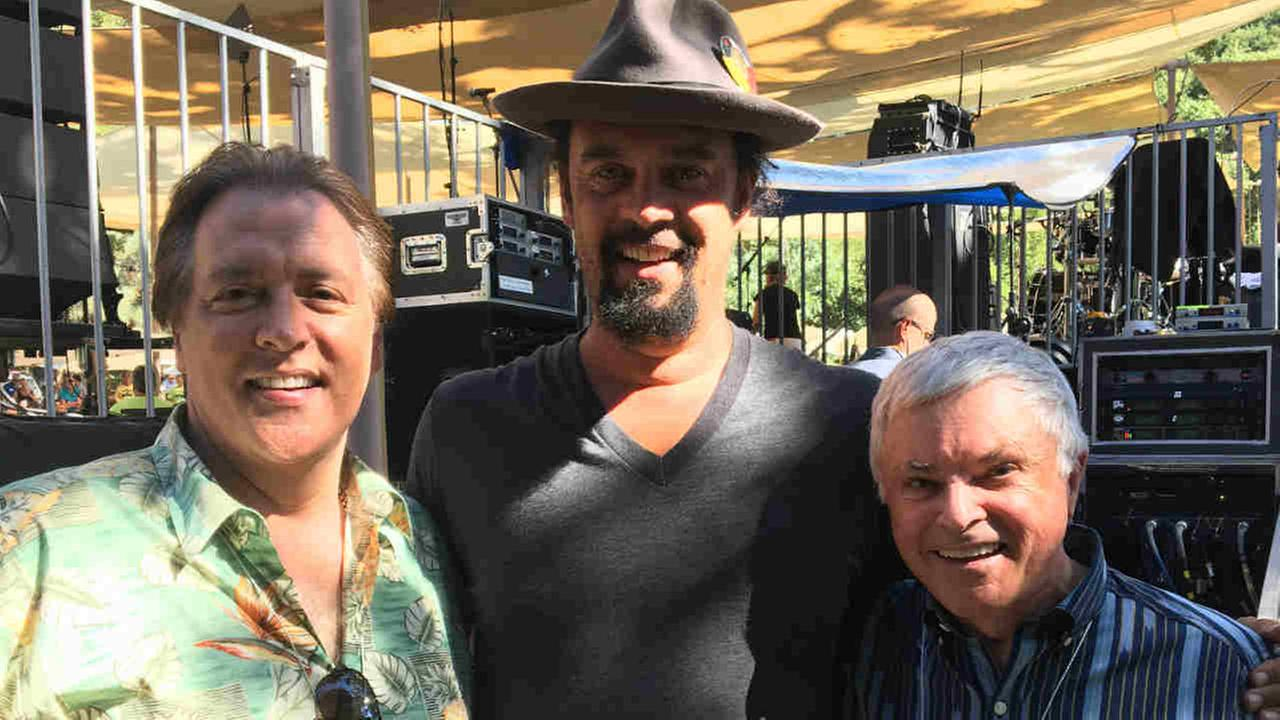 ABC7 News Anchor Dan Ashley is seen with Don Sanchez and artist Michael Franti in Livermore, Calif. on Sunday, August 27, 2017.
