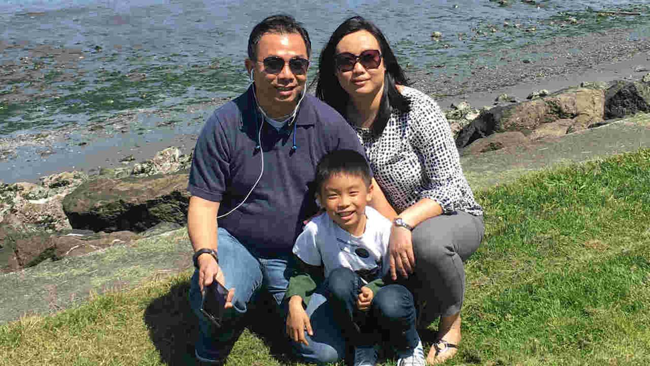 Lung cancer patient Trinh Phan, her husband Young Nguyen, and their son David are seen in this undated image.