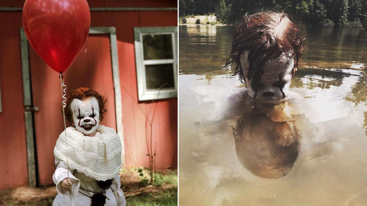 Three-year-old Louie from Mississippi is making a big splash online with photos of himself dressed like the tiny twin of Stephen Kings killer clown, Pennywise.