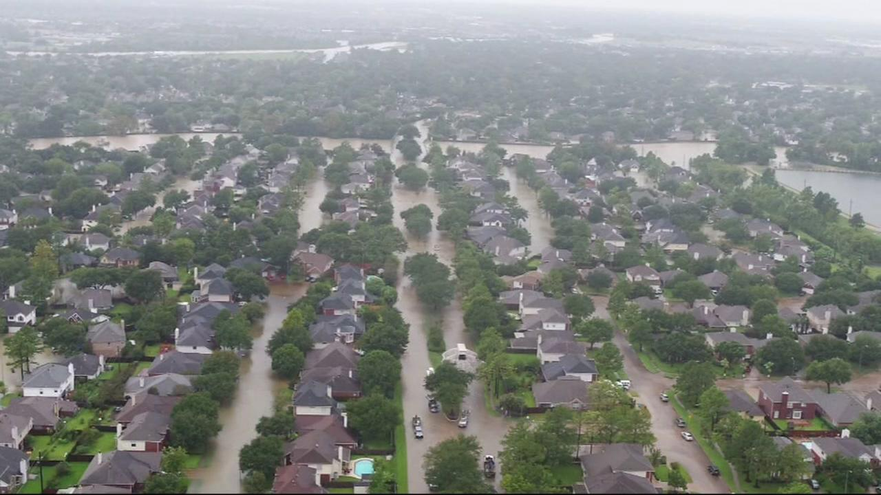 Damage from Hurricane Harvey is shown in this undated aerial image.