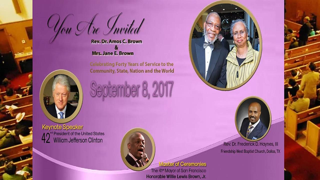 This image shows details of an event promoting the celebration of Rev. Amos Brown of San Franciscos Third Baptist Church.