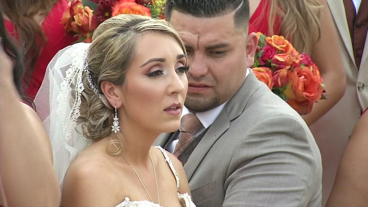 A bride and her party sweat in the South Bay sun on Friday, Sept. 1, 2017.KGO-TV