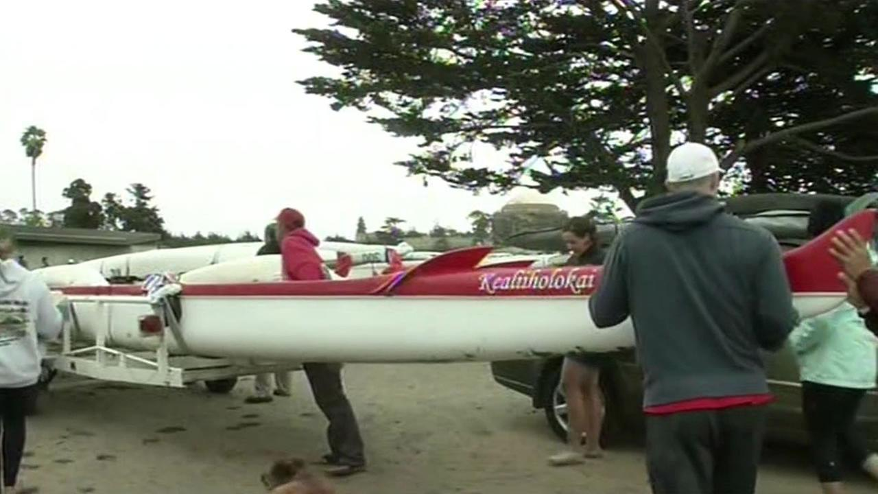 The canoe that contained the rowers rescued near the Golden Gate Bridge.