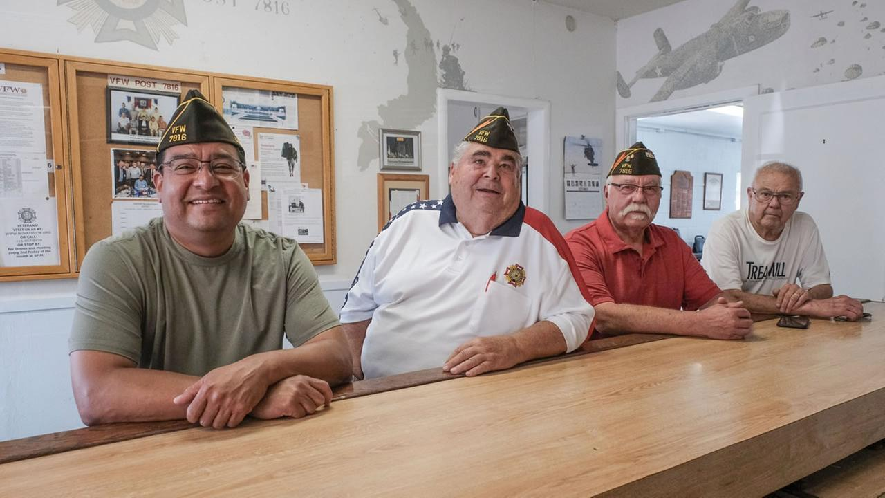 Four veterans sit at the bar at the Novato VFW hall on Tuesday, Sept. 5, 2017.