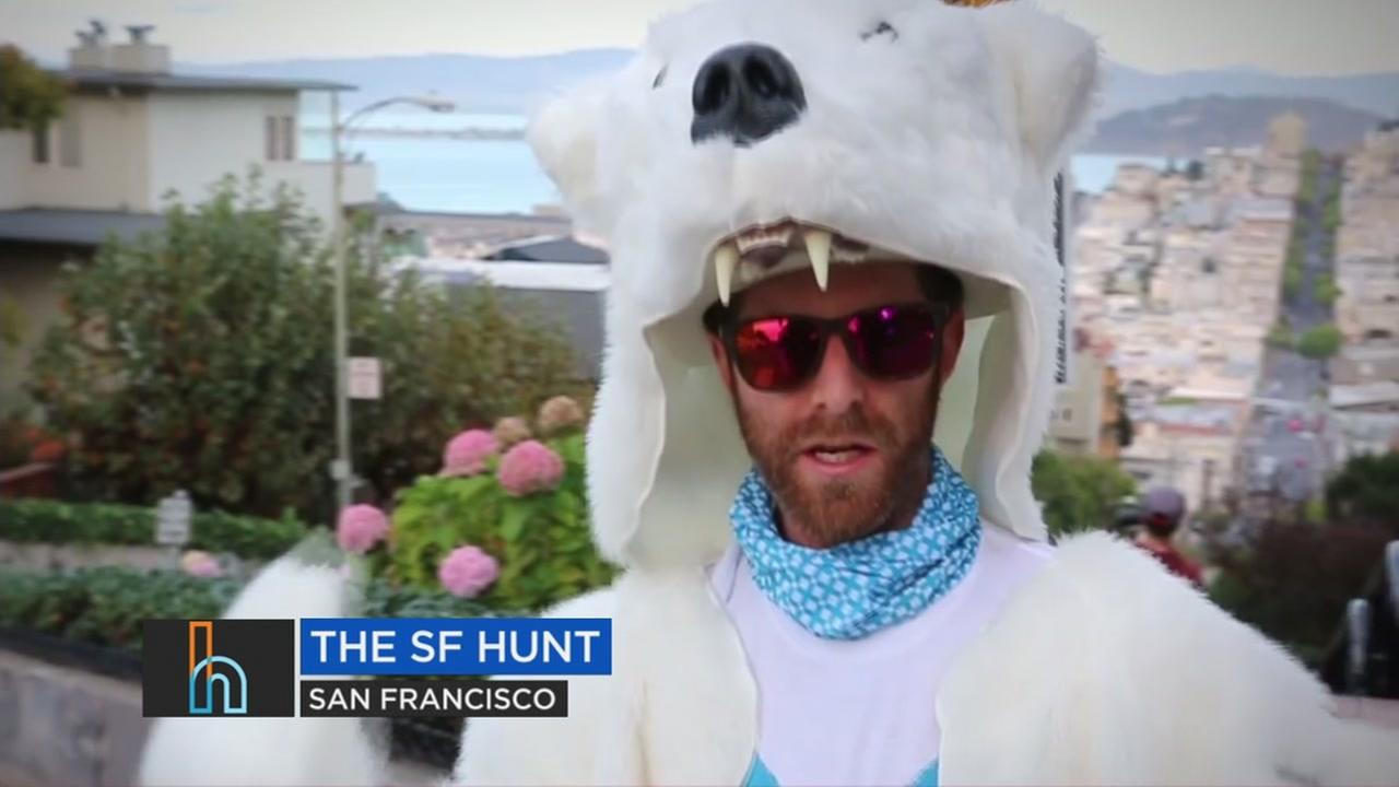 A man dressed in a costume for The SF Hunt is seen in this undated image.