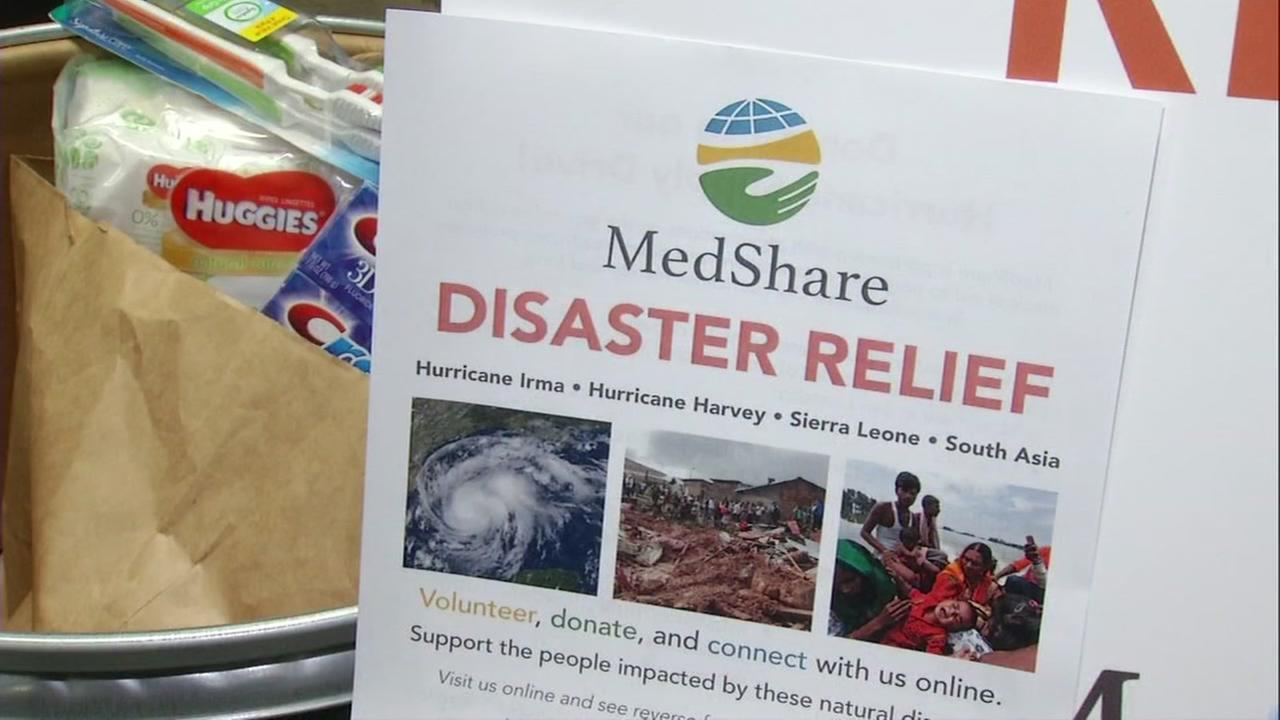 A MedShare pamphlet appears in a loading zone for disaster relief supplies on Friday, Sept. 8, 2017.