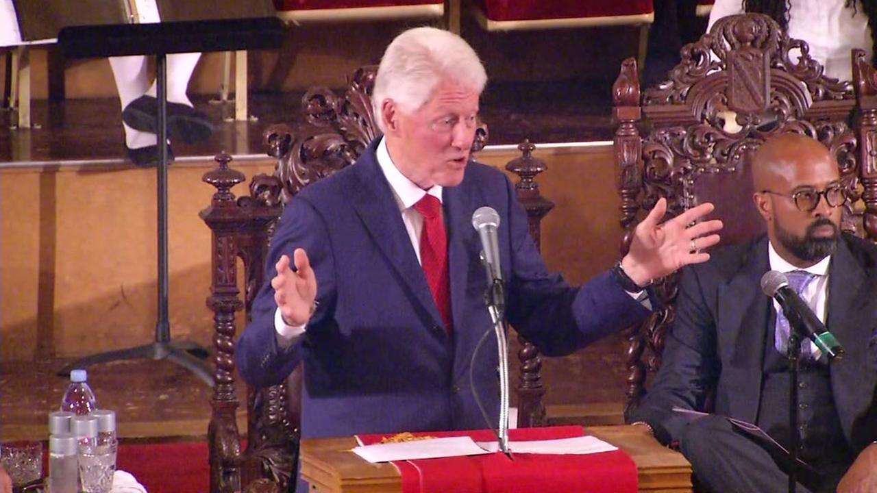 Bill Clinton gives the keynote address at a celebration for Reverend Amos Brown at the Third Baptist Church in San Francisco on Friday, Aug. 9, 2017.