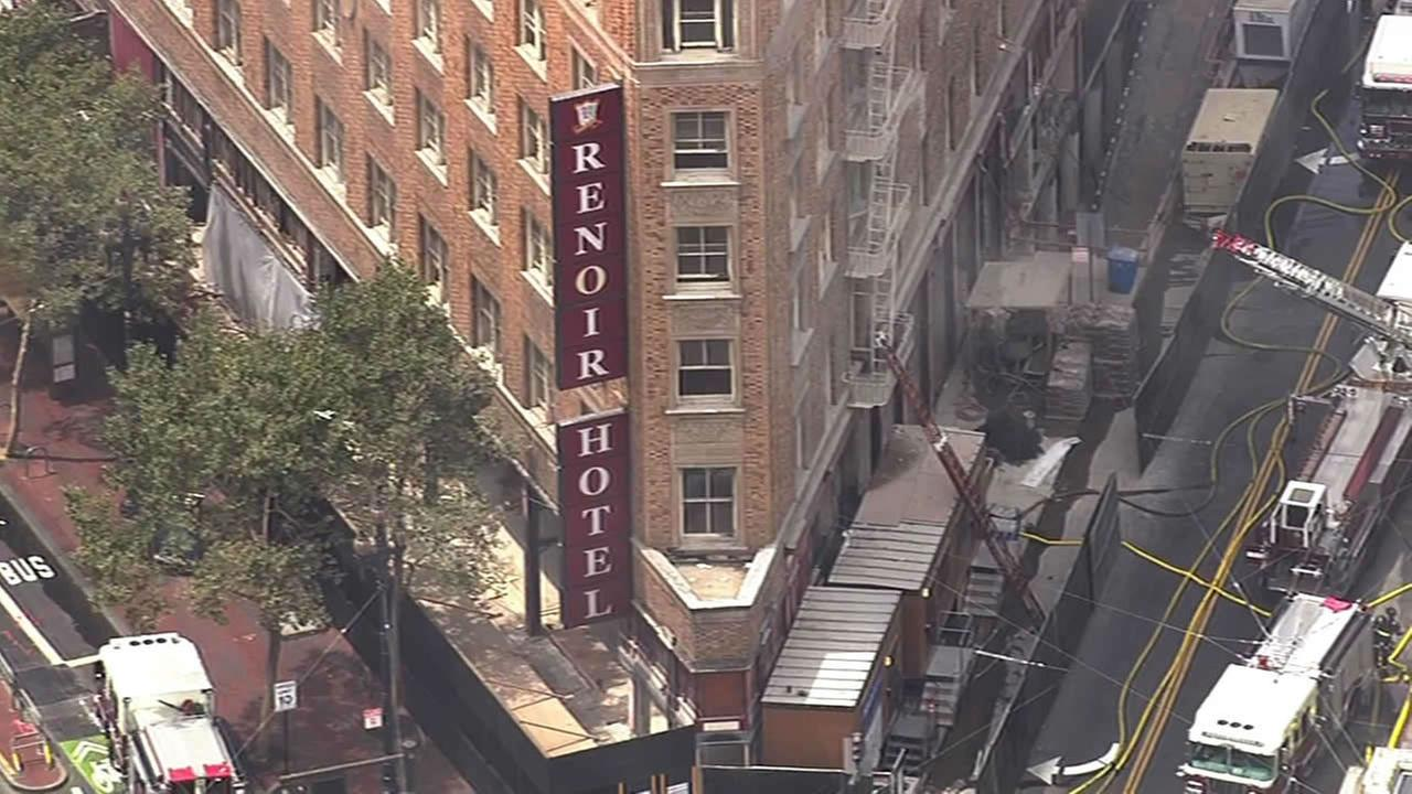 Fire burning at old Renoir Hotel in San Francisco