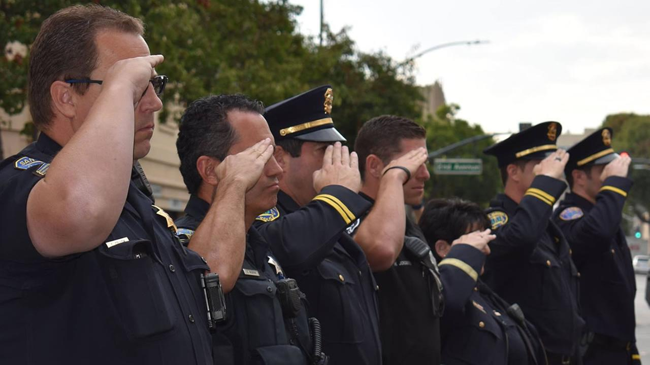 Members of the police and fire department joined together at Fire Station 21 in San Mateo, Calif. on Monday, Sept. 11, 2017 to pay tribute to the victims of 9/11.