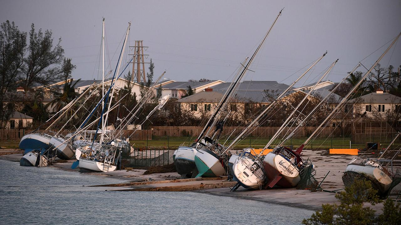 Damaged sail boats are shown in the aftermath of Hurricane Irma, Monday, Sept. 11, 2017, in the Florida Keys.