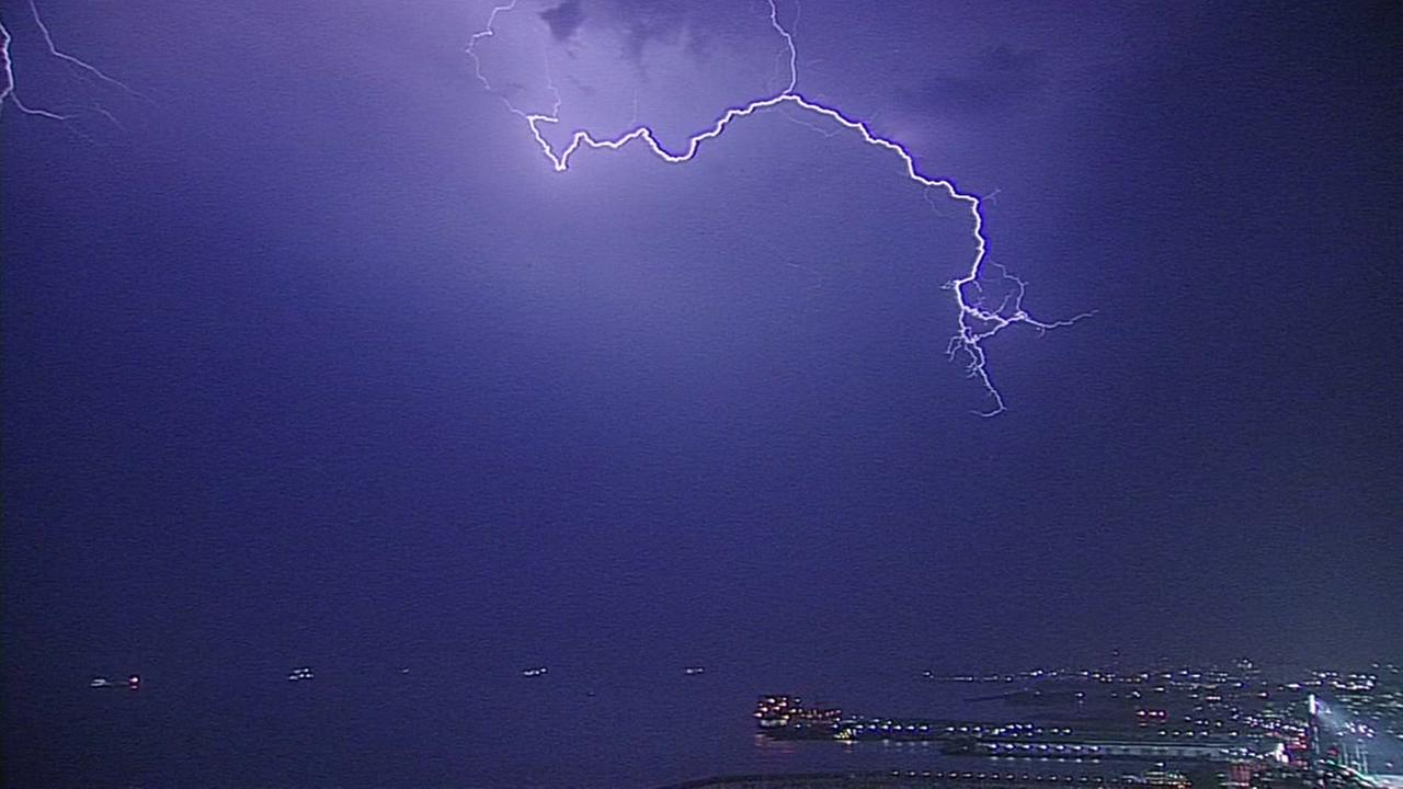 Lightning hit the Bay Area on Monday, Sept. 12, 2017.