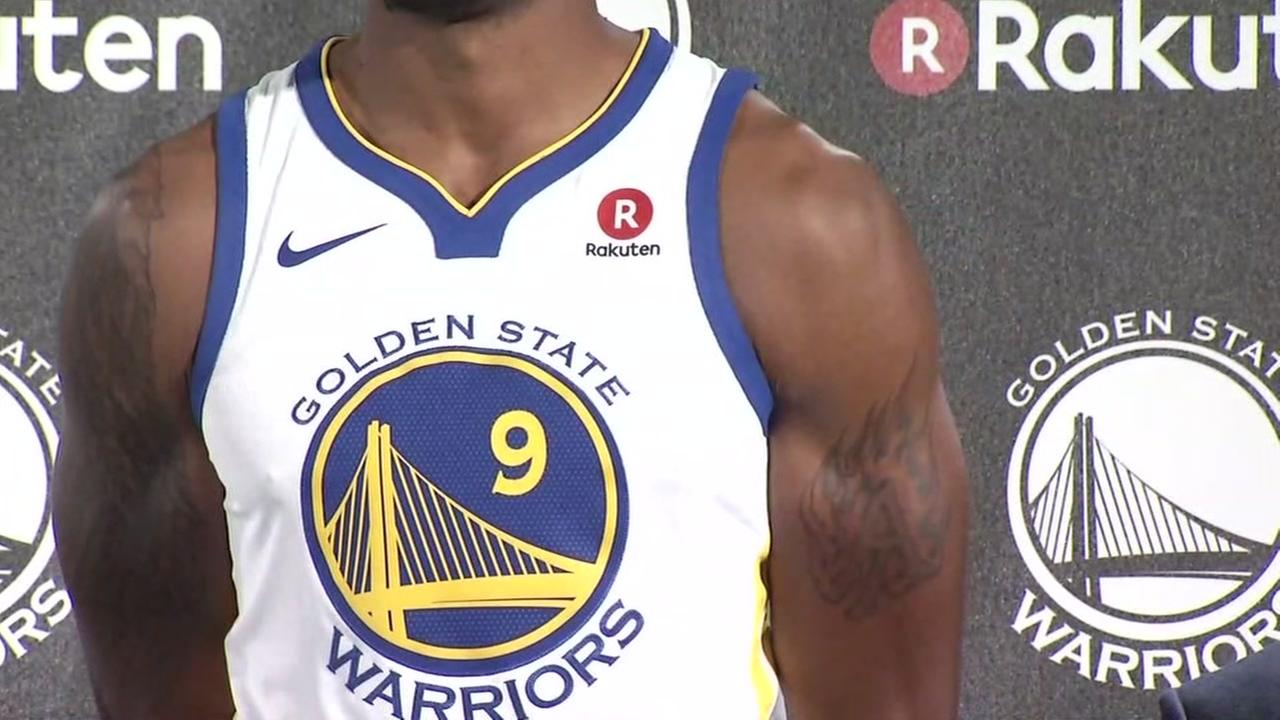The Golden State Warriors unveiled their new jerseys with a Rakuten logo in Oakland, Calif. on Tuesday, Sept. 12, 2017.