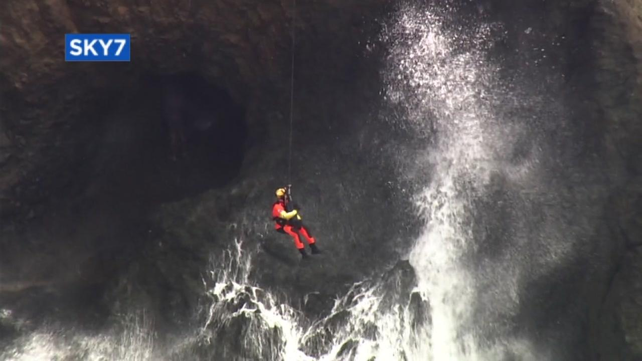 The Coast Guard rescued a couple stuck in a cave off Mussel Rock Beach in Daly City, Calif. on Monday, Sept. 11, 2017.
