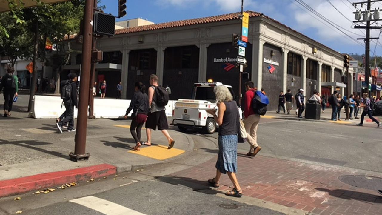 Streets were shut down in Berkeley, Calif. on Thursday, Sept. 14, 2017 ahead of a speech by Ben Shapiro.