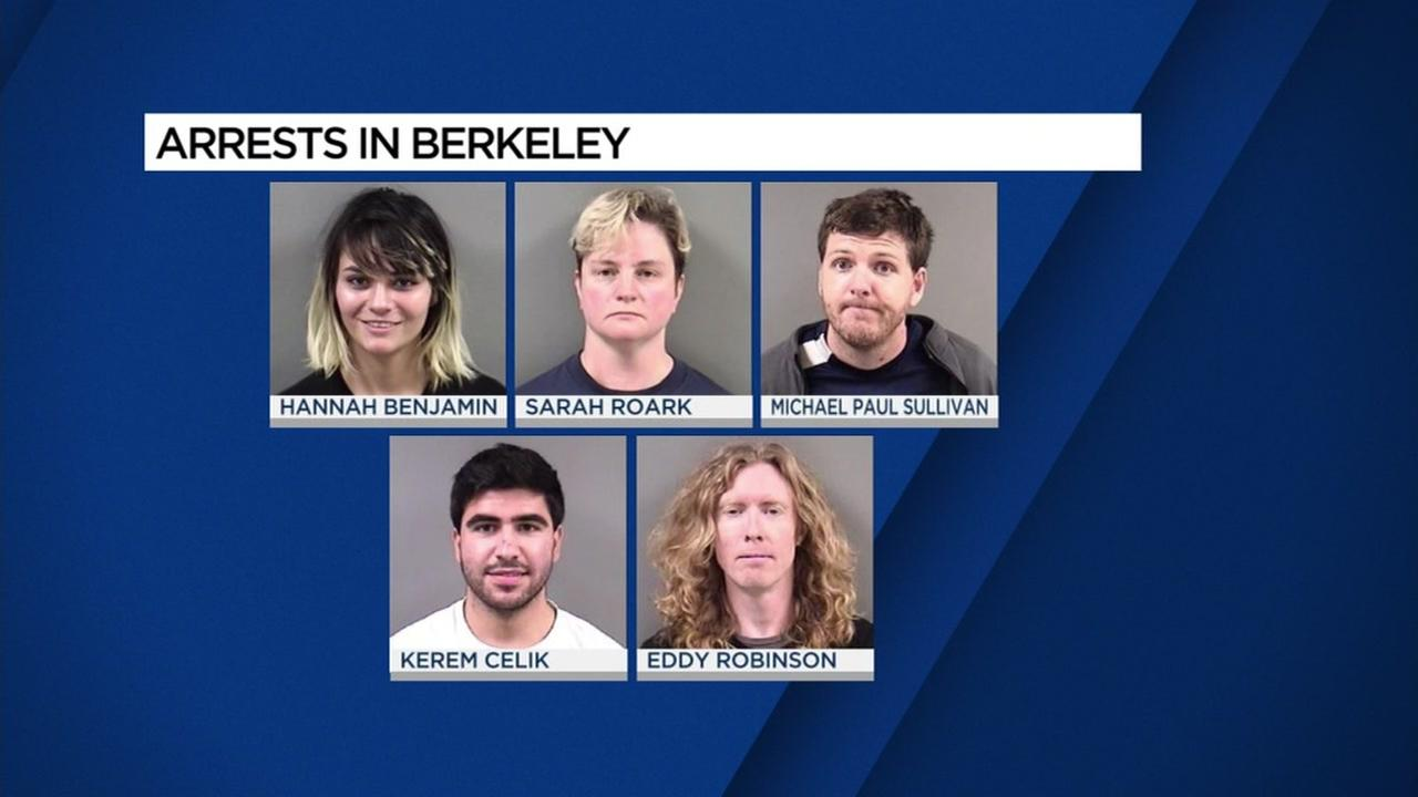 Mug shots of people arrested during protests in Berkeley, California, Thursday, September 15, 2017.