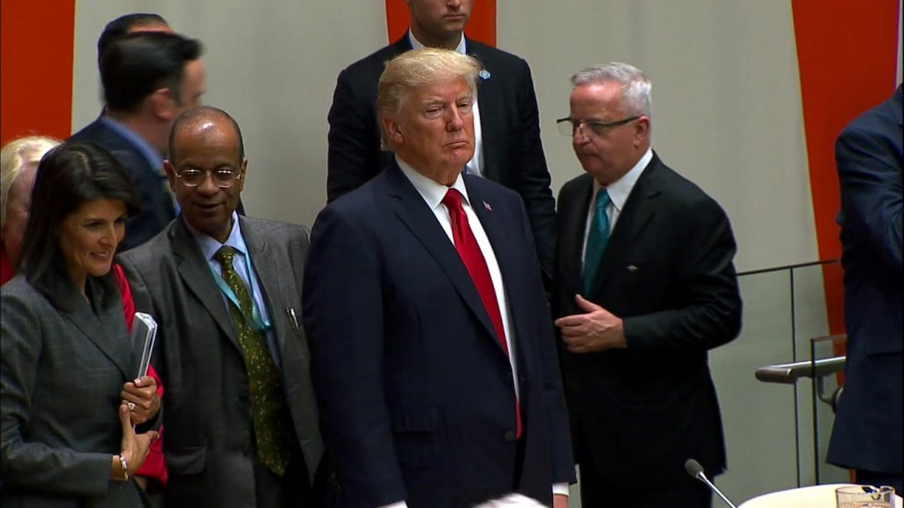 FILE -- President Donald Trump speaks at the United Nations.
