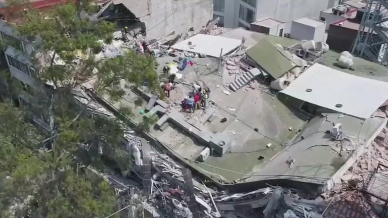 A building is seen collapsed in Mexico City, Mexico after a devastating earthquake on Tuesday, Sept. 19, 2017.