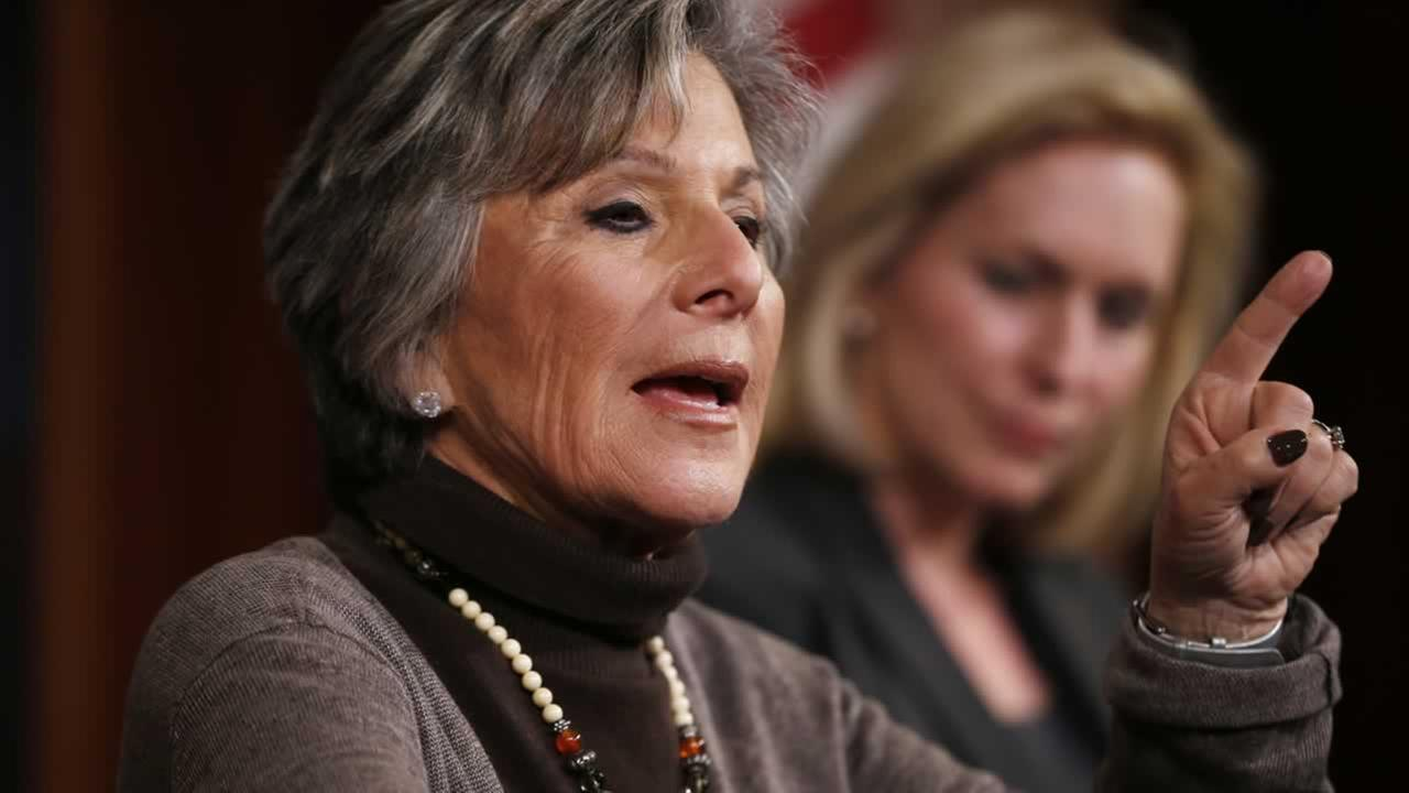 Sen. Barbara Boxer, D-Calif., left, accompanied by Sen. Kirsten Gillibrand, D-N.Y., speaks during a mews conference on Capitol Hill in Washington.