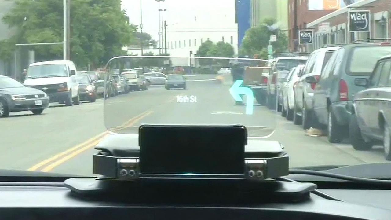 Navdy is a heads up display in a car