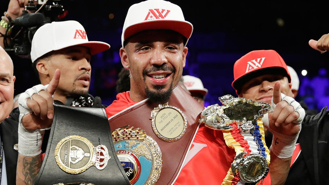 FILE - In this June 17, 2017, file photo, Andre Ward celebrates after defeating Sergey Kovalev in a light heavyweight championship boxing match in Las Vegas.