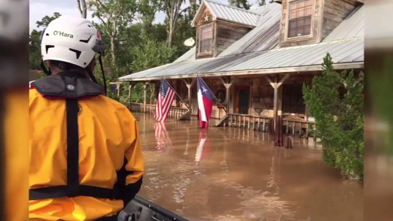 This is an undated image of a first responder working during Hurricane Harvey in Houston, Texas.