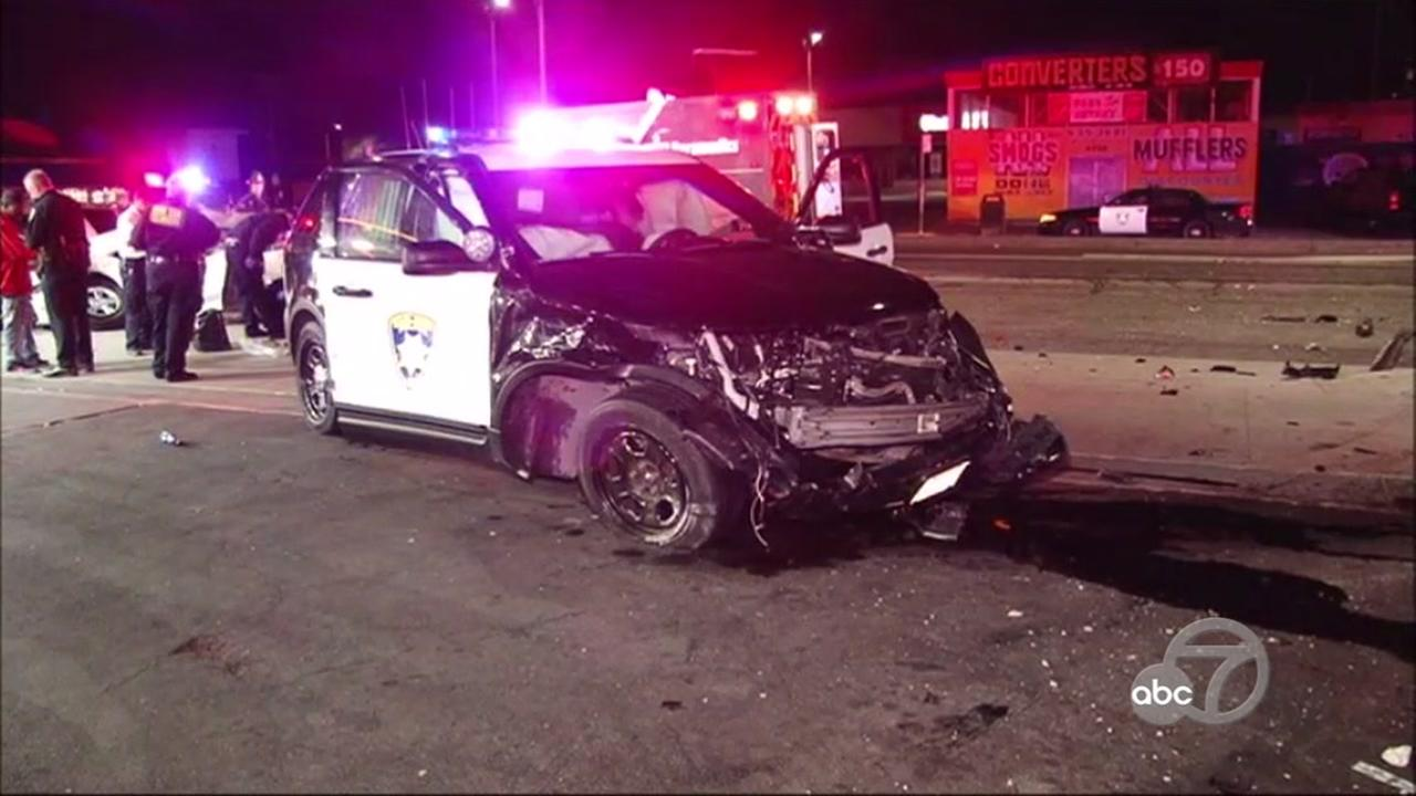 Police involved in multi-car crash in Oakland, California, Monday, September 25, 2017.