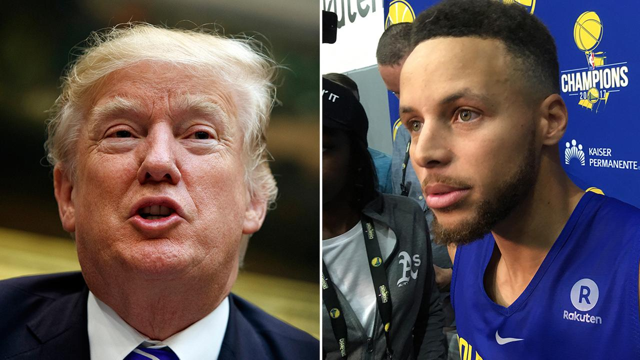 File -- President Donald Trump (left) and Golden State Warriors Guard Stephen Curry (right)