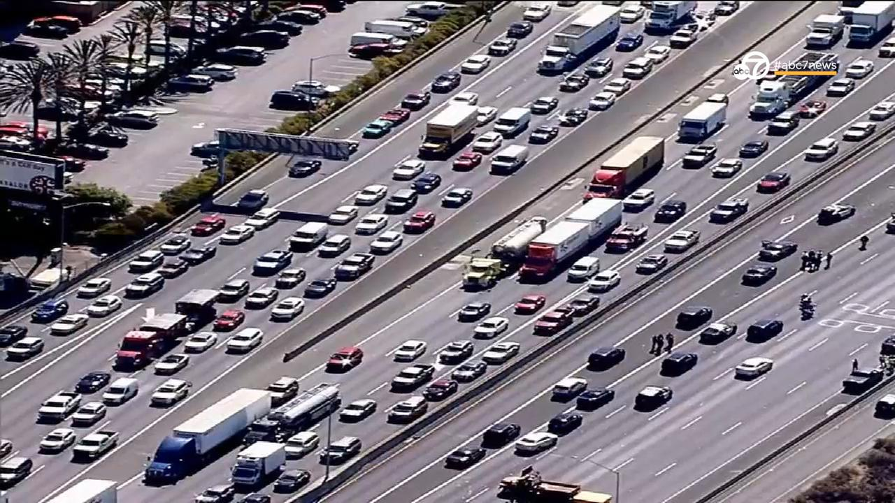 Traffic is backed up on I-80 in Emeryville, Calif. on Wednesday, Sept. 27, 2017.