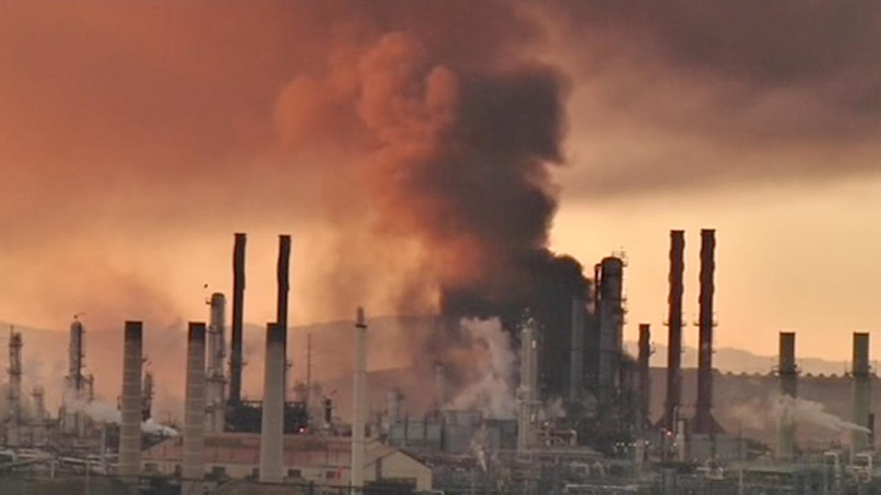 A visible fire could be seen burning at the Chevron Refinery in Richmond and a large black plume of smoke.