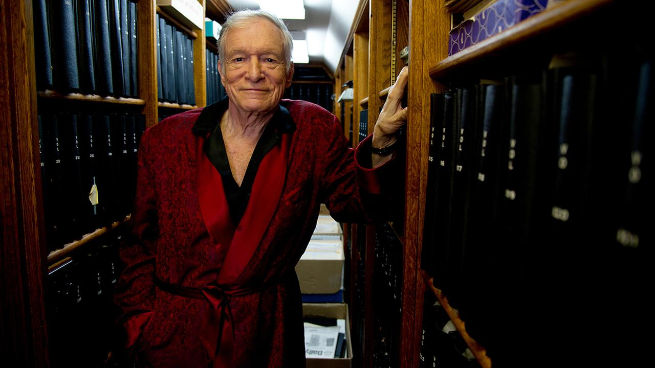 In this Oct. 13, 2011 photo, Hugh Hefner poses for a photograph at his home at the Playboy Mansion in Beverly Hills, Calif.