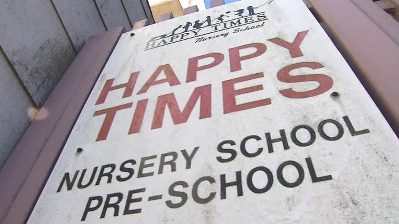 A sign for Happy Times Nursery School in San Francisco is seen on Thursday, Sept. 28, 2017.
