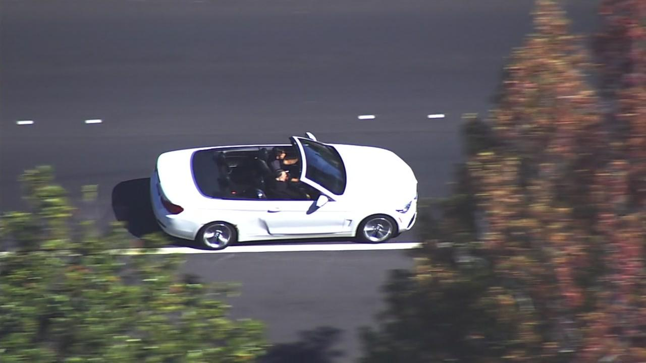 A suspects vehicle is seen speeding in Hayward, Calif. during a police chase on Thursday, Sept. 28, 2017.