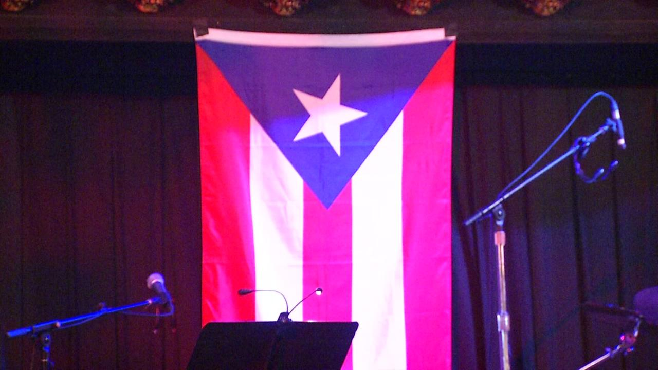 The Puerto Rican flag is seen at the Great American Music Hall in San Francisco on Friday, Sept. 29, 2017.
