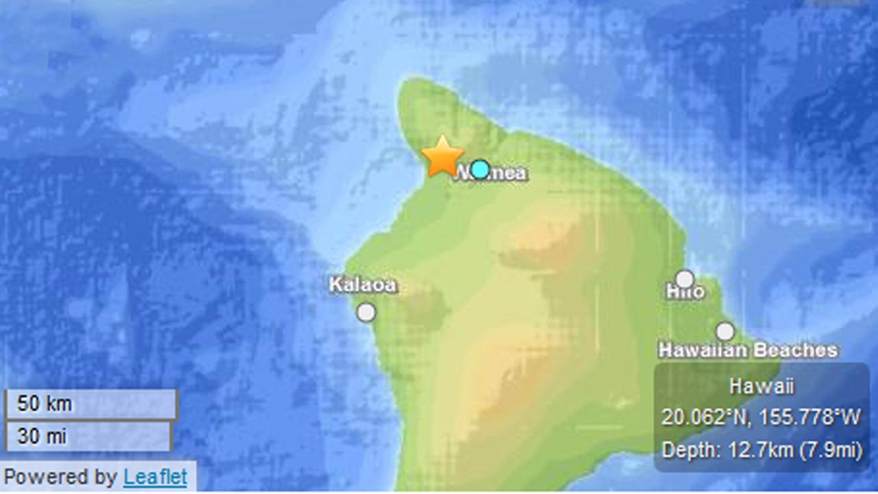 Map of Waimea, Hawaii where 4.3 earthquake struck Thursday. (USGS)