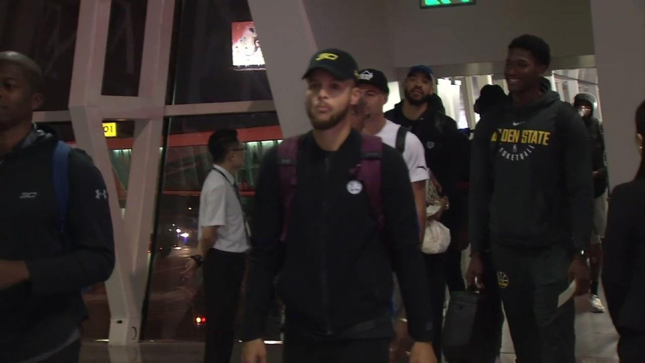 The Warriors arrive in Shenzhen, China on Monday, Oct. 2, 2017.