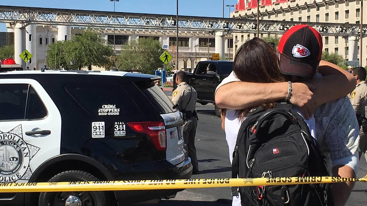 A woman from San Ramon, Calif. who survived the mass shooting reunited with her boyfriend in Las Vegas on Tuesday, Oct. 3, 2017.