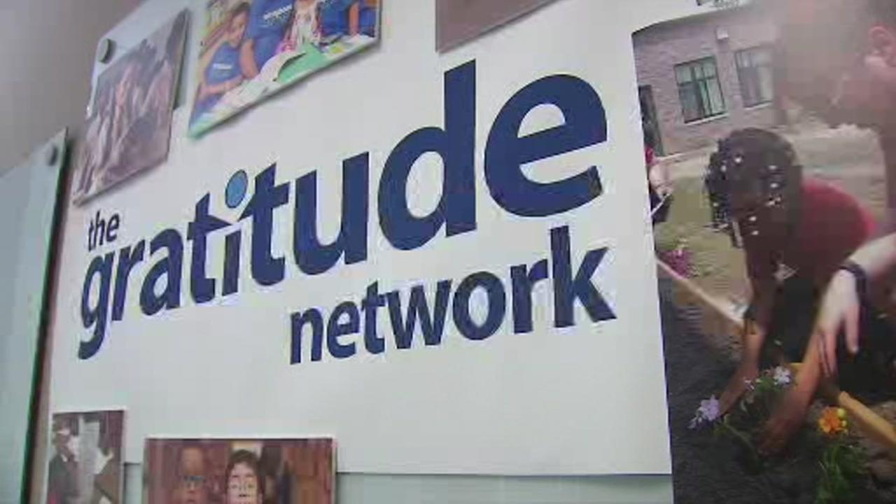 A sign for the Gratitude Network is seen in this undated image.