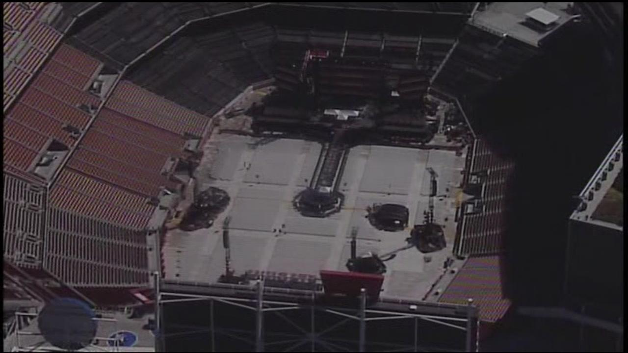 This image from Sky7 shows preparations for a Coldplay concert at Levis Stadium in Santa Clara, Calif. on Wednesday, Oct. 4, 2017.